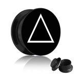 Picture Ear Plug - Screw - Triangle - White 16 mm