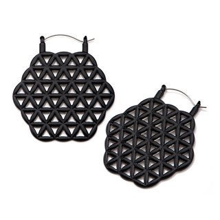 Flesh Tunnel Hoop Earring - Black - Ornament
