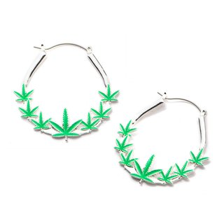 Flesh Tunnel Hoop Earring - Silver - Hemp Leafs