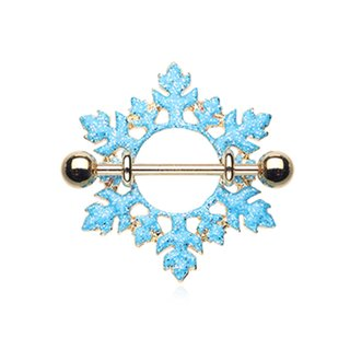 Nipple Piercing - Steel - Gold - Snowflake