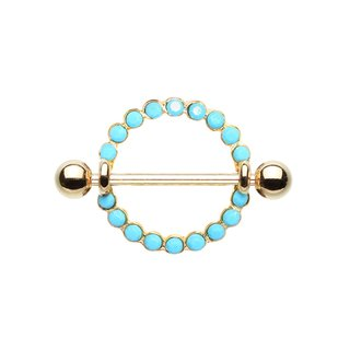 Nipple Piercing - Steel - Gold - Pearls - Blue