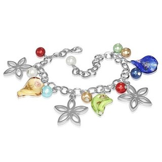 Bracelet - Silver - Flowers - Pearls - Colorful