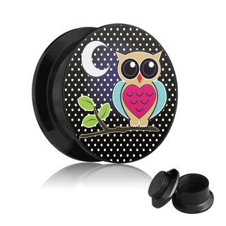 Picture Ear Plug - Screw - Owl - Moon