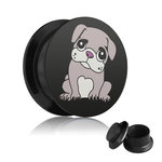 Picture Ear Plug - Screw - Pug Puppy