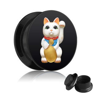 Picture Ear Plug - Screw - Lucky Cat