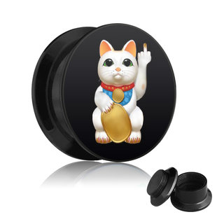 Picture Ear Plug - Screw - Lucky Cat - Middle Finger
