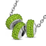 Necklace - Silver - 3 Crystal-Balls - Green