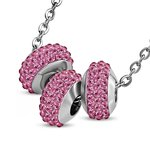 Necklace - Silver - 3 Crystal-Balls - Pink