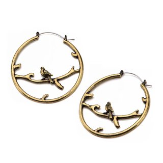 Flesh Tunnel Hoop Earring - Brass - Branch and Bird