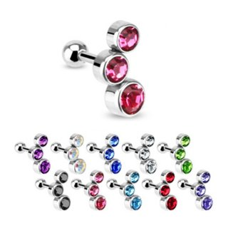 Barbell Piercing with Balls - Short - Bubbles - Crystals
