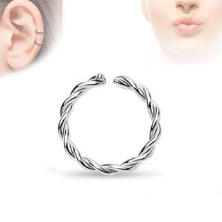 Piercing Ring - Continuous Ring - Silver - Twisted