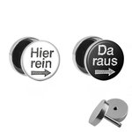 Picture Fake Plug Set - Hier rein, Da raus - Black - White