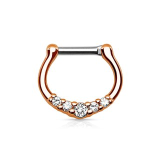 Septum Clicker - Rose Gold - Crystals - Slim