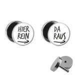 Picture Fake Plug Set - Hier rein, Da raus - White -...