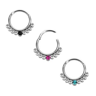 Segement Ring Piercing - Clicker - Silver - colored Crystal