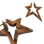 Wood Earring - Brown - Star - Open