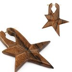 Wood Earring - Brown - Star - Close