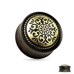 Horn Ear Plug - Black - Gold - Ornament - Tribal