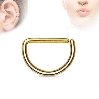 Piercing Ring - Continuous Ring - Half-Round - Gold