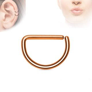 Piercing Ring - Continuous Ring - Half-Round - Rose Gold