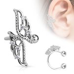 Ear Cuff - Silver - Wings - Crystals