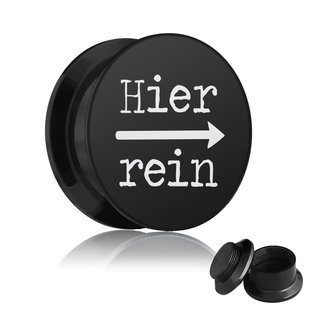 Picture Ear Plug - Screw - Hier rein - Black