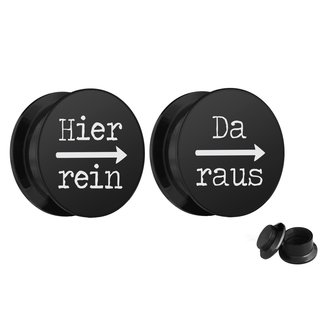 Picture Ear Plug Set - Screw - Hier rein Da raus - Black
