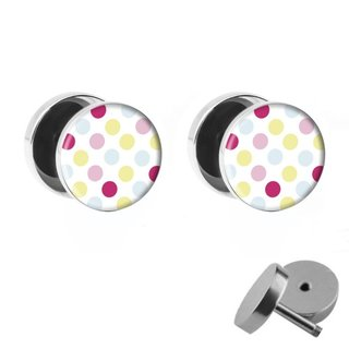 Picture Fake Plug Set - Polka Dots - Colorful
