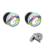 Picture Fake Plug Set - Fat Unicorn with Rainbow