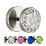 Piercing Fake Plug - Silver - Titanium - Epoxy Cover -...