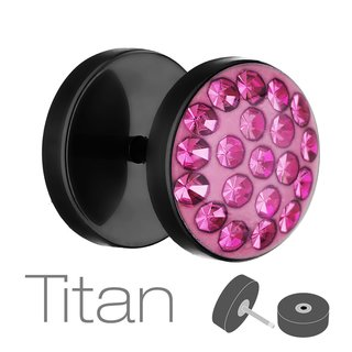 Piercing Fake Plug - Black - Titanium - Epoxy Cover - Crystal