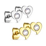 Ear Stud - Curved Heart - Crystal