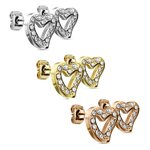 Ear Stud - Heart - Open - Crystals - Clear