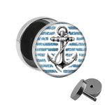 Picture Fake Plug - Anchor - Stripes - Blue-White