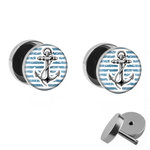 Picture Fake Plug Set - Anchor - Stripes - Blue-White