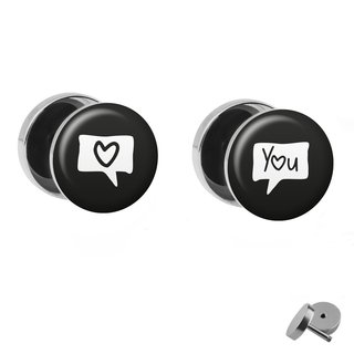 Picture Fake Plug Set - Speech Bubble Heart and You