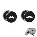 Picture Fake Plug Set - Moustache - White