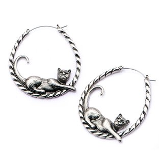 Flesh Tunnel Hoop Earring - Silver - Cat