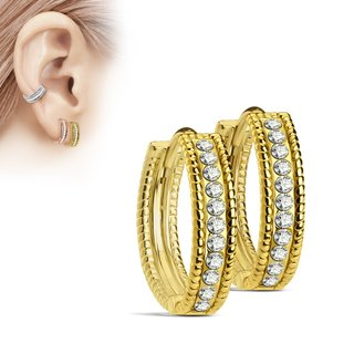 Hoop Earrings - Slim - Crystals - Clear
