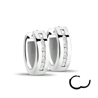 Hoop Earrings - 925 Silver - Crystals