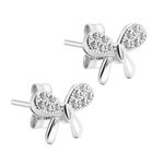 Ear Stud - 925 Sterling Silver - Ribbon - Crystals