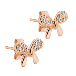 Ear Stud - 925 Sterling Silver - Ribbon - Crystals - Rose Gold