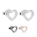 Ear Stud - 925 Sterling Silver - Shape Heart - Crystals