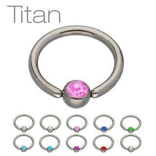 Ball Closure Ring - Titanium - Silver - Crystal