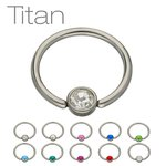 Ball Closure Ring - Titanium - Silver - Flat Crystal