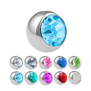 Piercing Ball - Steel - Silver - with Screw - Crystal