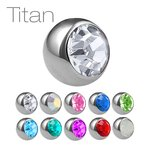 Piercing Ball - Titanium - Silver - with Screw - Crystal