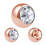 Piercing Ball - Steel - Rose Gold - with Screw - Crystal