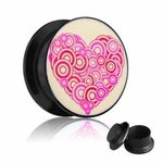 Picture Ear Plug - Screw - Heart - Pink