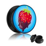 Picture Ear Plug - Screw - Chocolate Strawberry